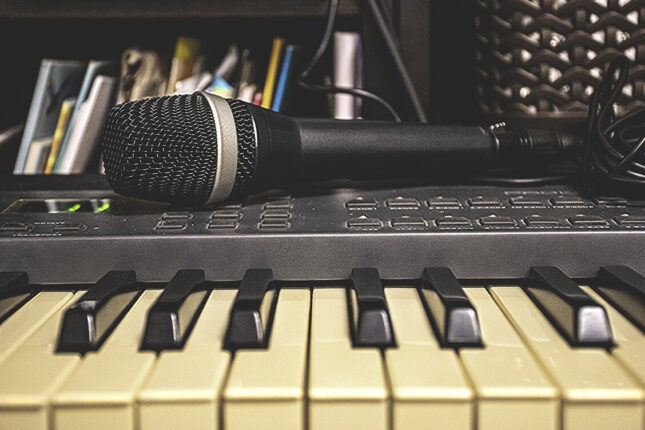 Home recording with microphone and piano keyboard